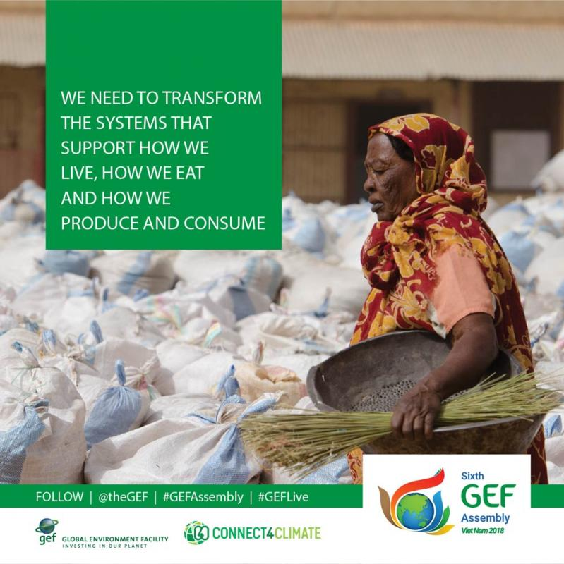 GEF Assembly June 2018: We need to transform the systems that support how we live, how we eat, how we move and how we produce and consume.