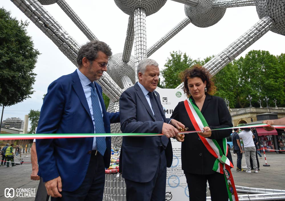 Gian Luca Galleti, Italian Minister of Environment, Land and Sea inaugurates the Atomium in #bologna made of recycled aluminum.