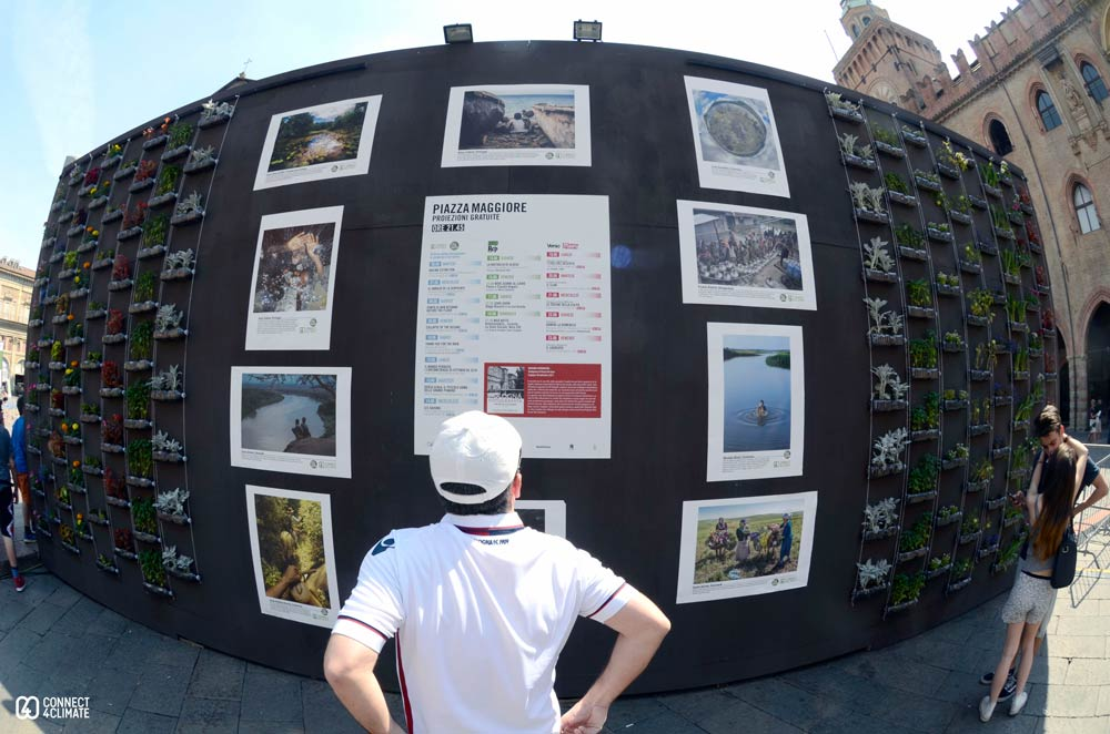 The #All4TheGreen Contest's winners photos were exhibited in Piazza Maggiore, the main square of Bologna.