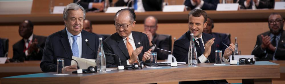 President Emmanuel Macron of France, United Nations Secretary General António Guterres, and World Bank Group President Jim Yong Kim, the World Bank Group. Photo Credits: Ibrahim Ajaja / World Bank