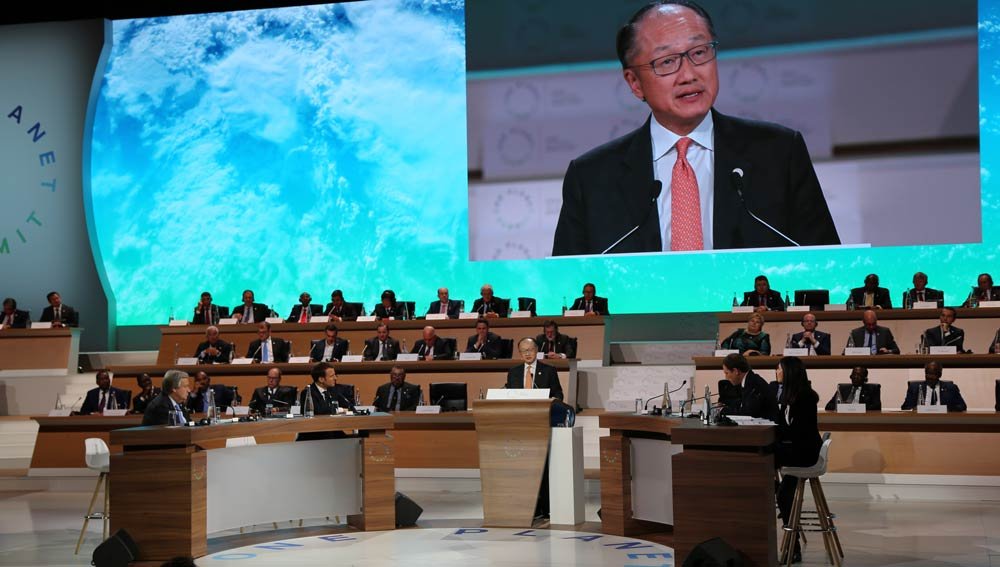 Jim Yong Kim at One Planet Summit. Photo Credits: Ibrahim Ajaja / World Bank