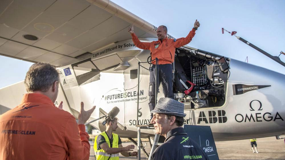 Bertrand Piccard celebrates at Sevilla airport after a 70-hour journey from New York. Photo Credit: Solar Impulse