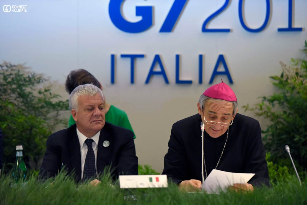 Gian Luca Galleti, Italian Minister for Environment, Land and Sea with Bologna Archbishop Matteo Zuppi