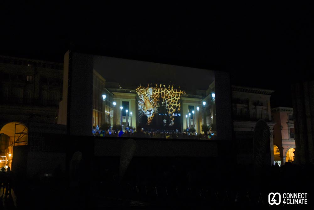 Fiat Lux projected on the biggest outdoor screen in Europe powered by solar energy set up at Piazza Maggiore, Bologna.