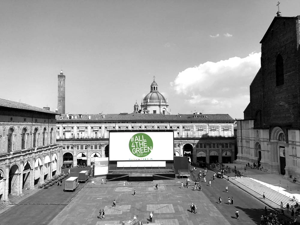 A sun-powered big screen at Piazza Maggiore.