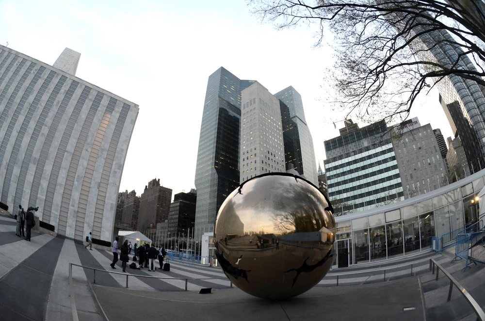 Outside the United Nations Headquarters in New York.