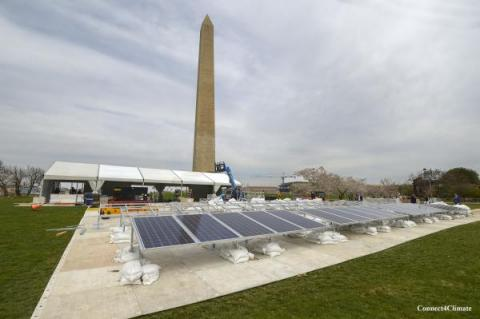 Solar plant on the National Mall in Washington, D.C., for the occasion of Global Citizen Earth Day (Connect4Climate and Alcantara joint pavilion)