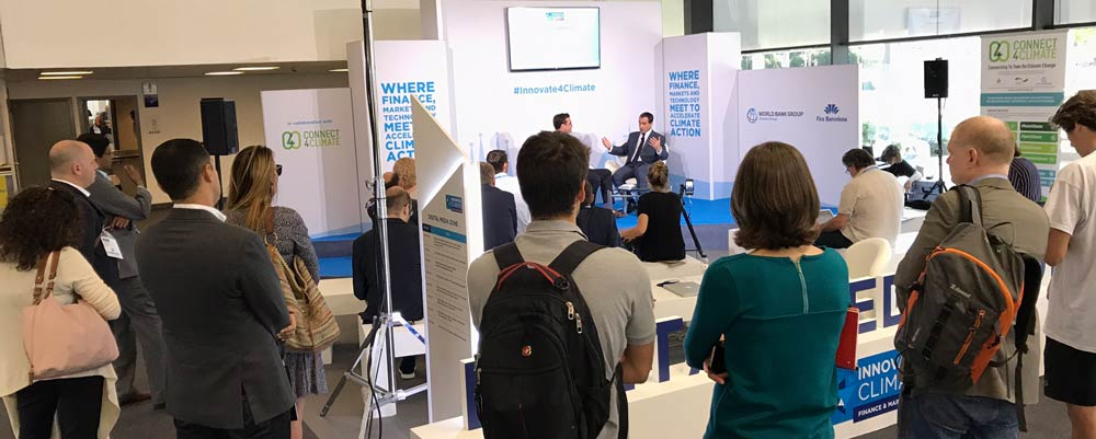 Audience engaged with high-level interviews at Digital Media Zone at Innovate4Climate in Barcelona